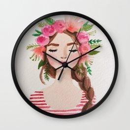 BEAUTIFUL FLOWER CROWN GIRL Wall Clock