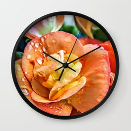 Peach Rose Wall Clock
