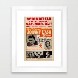 1967 Johnny Cash, Carter Family, Carl Perkins at Springfield Shrine Mosque Concert Poster Framed Art Print