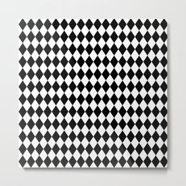 Classic Black and White Harlequin Diamond Check Metal Print
