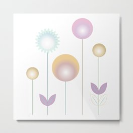 abstract stylized flowers in pink gold ochre Metal Print