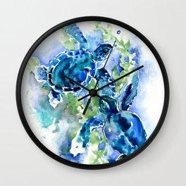 Sea Turtle Turquoise Blue Beach Underwater Scene Green Blue design Wall Clock