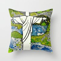 rio de janeiro Throw Pillows featuring Rio de Janeiro - Brazil by Luciana Pupo