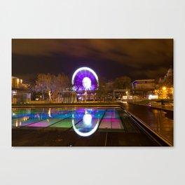 Budapest Eye Ferrish Wheel, Colorful Night Photography, Urban Cityscape Print Canvas Print