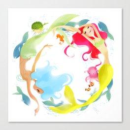 Mermaid Circle Canvas Print