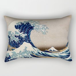 Under the Great Wave by Hokusai Rectangular Pillow