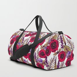 Red Poppies & Purple Flowers - Floral/Botanical Print Duffle Bag