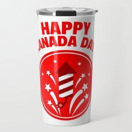 Happy Canada Day Fireworks  Travel Mug