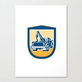 Tow Truck Wrecker Rear Shield Retro Canvas Print