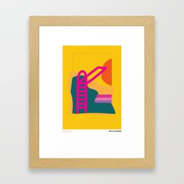 Swimming Pool and the Sun: Colorful End of Summer Illustration Framed Art Print