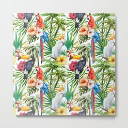 Tropical Birds Palm Trees Pattern Metal Print