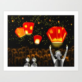 Freedom and rememberance,Lanterns,Illustrations,Sky Art Art Print