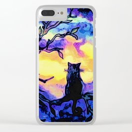 Cat  watching sunset Clear iPhone Case