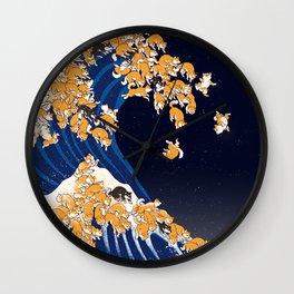 Shiba Inu The Great Wave in Night Wall Clock