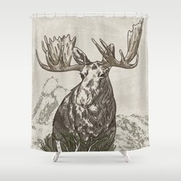 Guardian of the Hinterland (moose) Shower Curtain