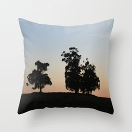 Eucalyptus trees at sunset Throw Pillow