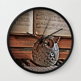 the pianos Owl Wall Clock