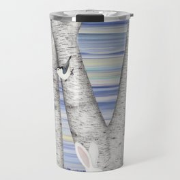 nuthatches, bunnies, and birches Travel Mug