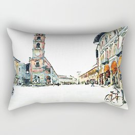 Faenza: square with tower and cyclists Rectangular Pillow