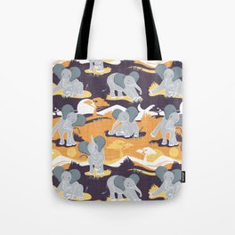 Baby African elephants joy night and day // yellow mustard Tote Bag