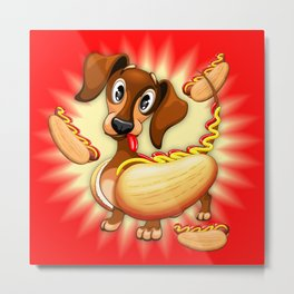 Dachshund Hot Dog Cute and Funny Character Metal Print
