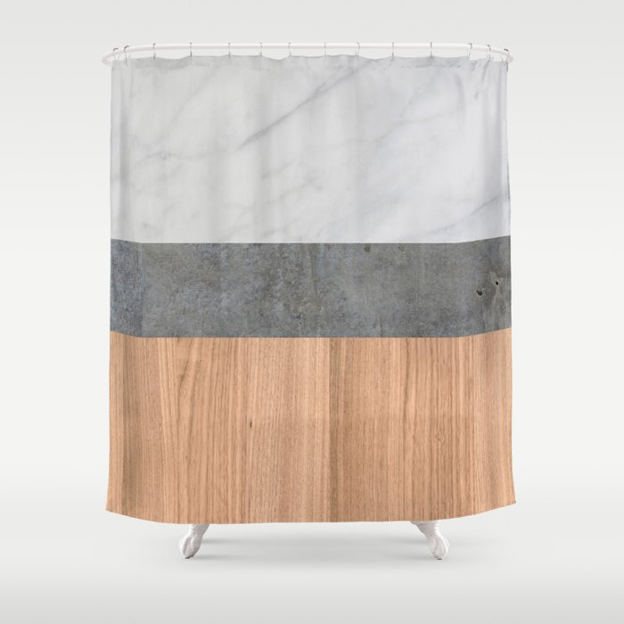 Carrara Marble Concrete And Teak Wood Abstract Shower Curtain By Calacatta
