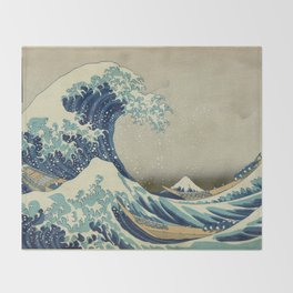The Classic Japanese Great Wave off Kanagawa Print by Hokusai Throw Blanket