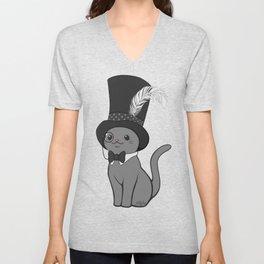 Grey Cat Wears Plumed Top Hat Unisex V-Neck