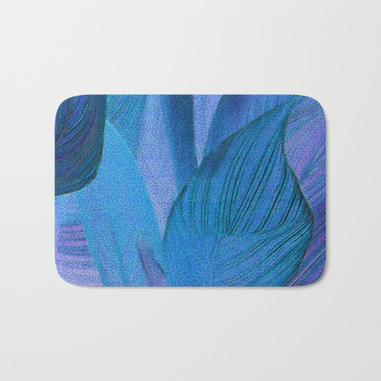 Exotic Leaves with Translucent Floral Pattern Bath Mat
