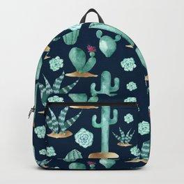 CACTUS & SUCCULENT | Desert Plants on Navy Blue Backpack