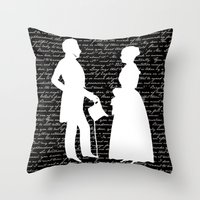 pride and prejudice Throw Pillows featuring Pride and Prejudice design by Evie Seo