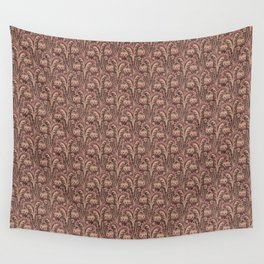 Old Rose Pink Woodcut Style Bellflower William Morris inspired Pattern Wall Tapestry