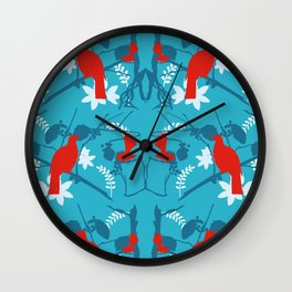 NZ Native Red Kereru (Wood Pigeon) and Fantail on Blue Wall Clock
