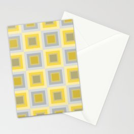 Yellow And Gray Patchwork Squares Stationery Cards