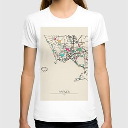 Colorful City Maps: Naples, Italy T-shirt