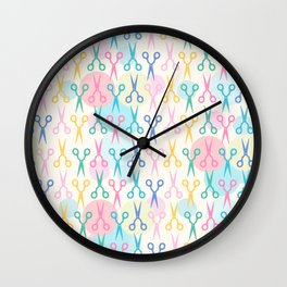 Hair Scissors Pastel Pattern Wall Clock