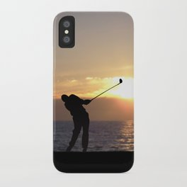 Playing Golf At Sunset iPhone Case