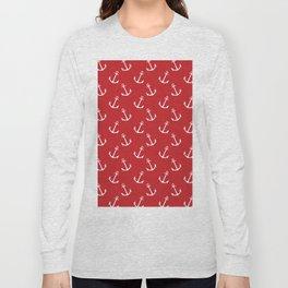 Nautical modern red white trendy anchor pattern Long Sleeve T-shirt