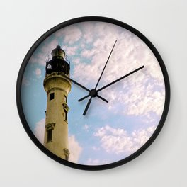 Cloudy at the Lighthouse Wall Clock