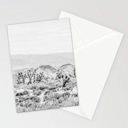Joshua Tree // Black and White Vintage Desert Landscape Cactus Mountains Stationery Cards