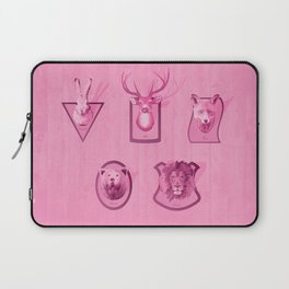 Hunting Series - Different Pink Animal Head Pattern Laptop Sleeve