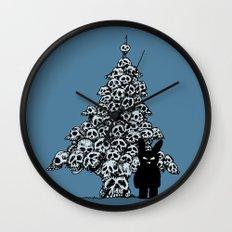 The Black Bunny of Doom and his Skull Christmas tree Wall Clock