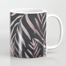 Rose Gold Leaves on Dark Gray Black Coffee Mug
