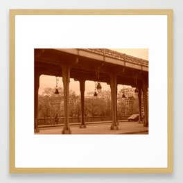 Paris - Bir-Hakeim bridge in sepia Framed Art Print