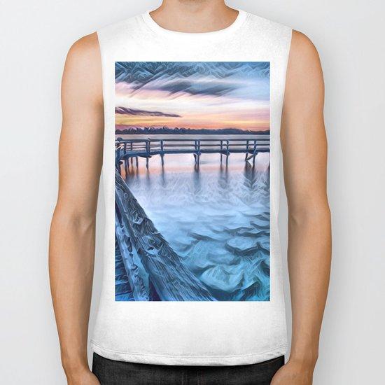Dock on the River (Sunset) Biker Tank