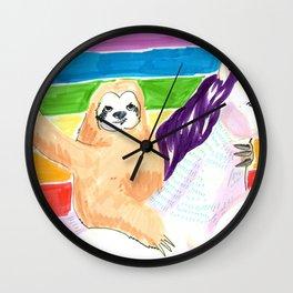 sloth and unicorn in rainbow Wall Clock