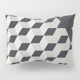 Gradient Cubes – Ebony Black / Warm Gray Abstract Print Pillow Sham