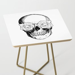 Skull and Roses | Black and White Side Table