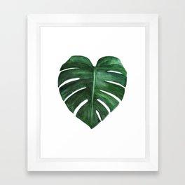 Watercolor Monstera leaf Framed Art Print