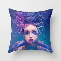 queen Throw Pillows featuring Queen by Alessandro Pautasso